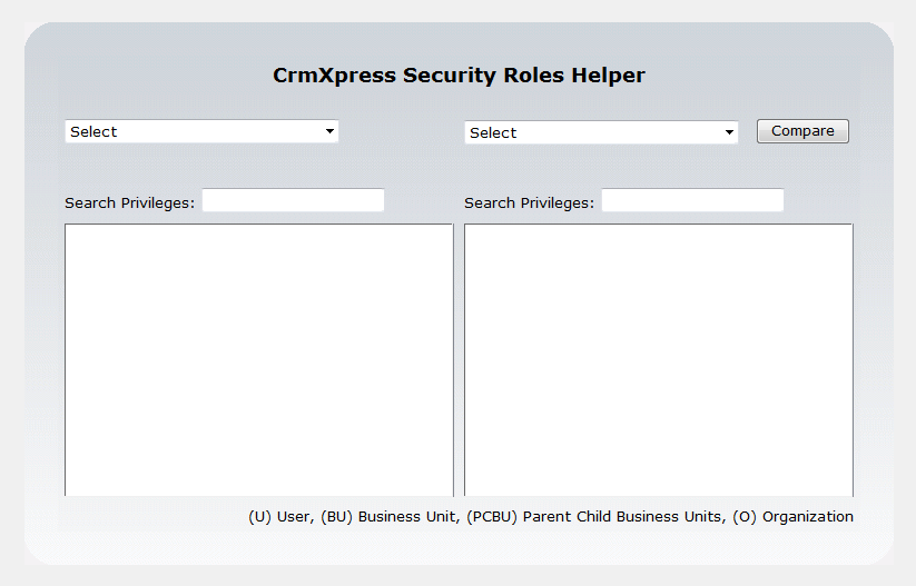 CrmXpress Security Roles Helper - Main Screen